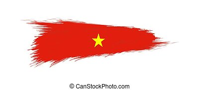 Flag of Vietnam in grunge brush stroke.