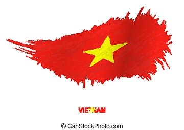 Flag of Vietnam in grunge style with waving effect.
