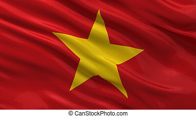 Flag of Vietnam waving in the wind