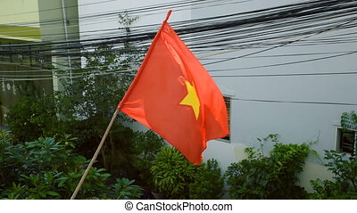 Flag of Vietnam Waving in front of building