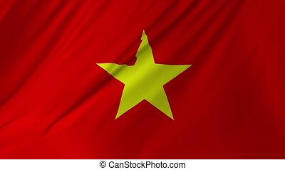 Flag of Vietnam with fabric structure looping 2 in 1