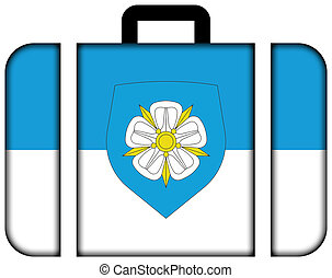 Flag of Viljandi with Coat of Arms, Estonia. Suitcase icon, travel and transportation concept