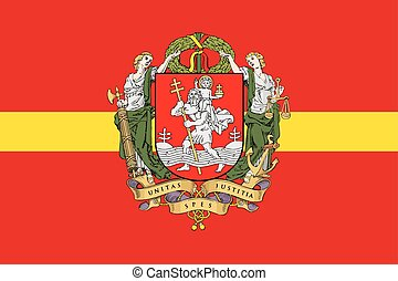 Flag of Vilnius with Coat of Arms, Lithuania. Vector Format