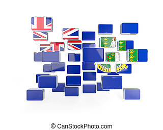 Flag of virgin islands british, mosaic background. 3D illustration