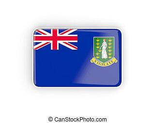 Flag of virgin islands british, rectangular icon with white border. 3D illustration