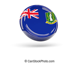 Flag of virgin islands british, round icon. 3D illustration