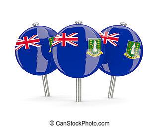 Flag of virgin islands british, round pins on white. 3D illustration