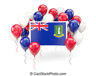Flag of virgin islands british, with balloons isolated on white. 3D illustration