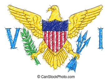 Flag of Virgin Islands, US background o texture, color pencil effect.