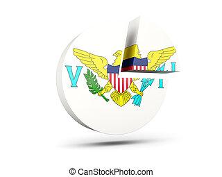 Flag of virgin islands us, round diagram icon