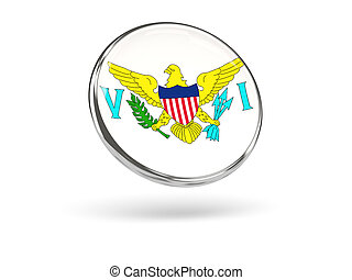 Flag of virgin islands us. Round icon with metal frame