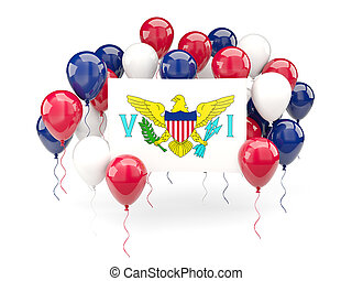 Flag of virgin islands us with balloons