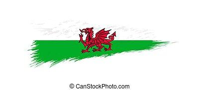 Flag of Wales in grunge brush stroke.