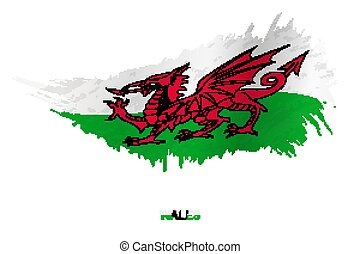 Flag of Wales in grunge style with waving effect.