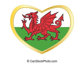 Flag of Wales in heart shape, golden frame