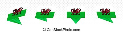 Flag of Wales in modern abstract design, flag set.