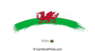 Flag of Wales in rounded grunge brush stroke.