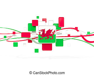 Flag of wales, mosaic background with lines