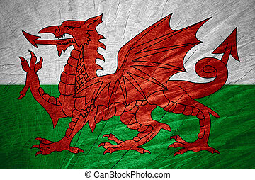 flag of Wales - Wales flag or Welsh banner on wooden texture