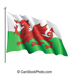 Vector illustration of flag of Wales