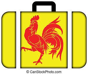 Flag of Walloon Region (Wallonia), Belgium. Suitcase icon, ...