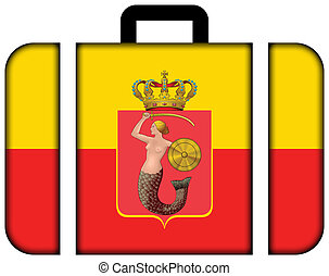 Flag of Warsaw with Coat of Arms, Poland. Suitcase icon, travel and transportation concept