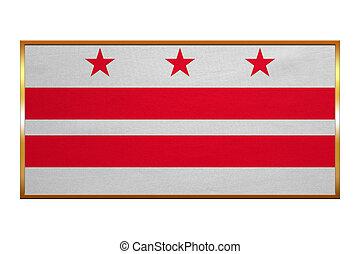 Flag of Washington, D.C., golden frame, textured