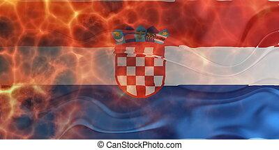 Flag of wavy burning