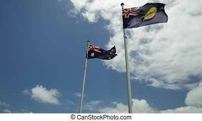 Flag of Western Australia with the Australian flag above the...