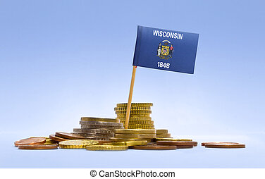Flag of Wisconsin in a stack of coins.(series)