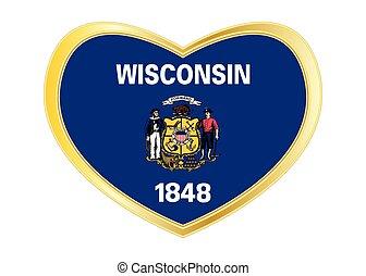 Flag of Wisconsin in heart shape, golden frame