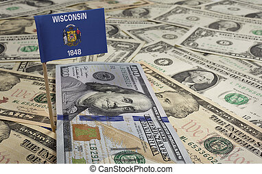 Flag of Wisconsin sticking in various american banknotes.(series)