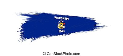 Flag of Wisconsin US State in grunge brush.