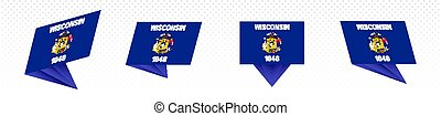 Flag of Wisconsin US State in modern abstract design, flag set.