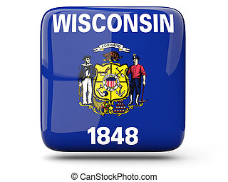 Flag of wisconsin, US state square icon