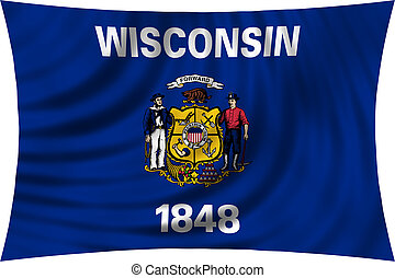 Flag of Wisconsin waving isolated on white