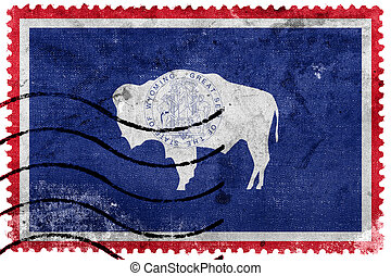 Flag of Wyoming State, old postage stamp