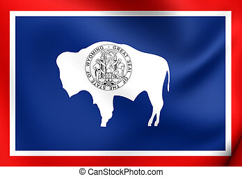 Flag of Wyoming, USA. Close Up.
