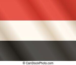 Flag of Yemen Arab Republic. Close Up.