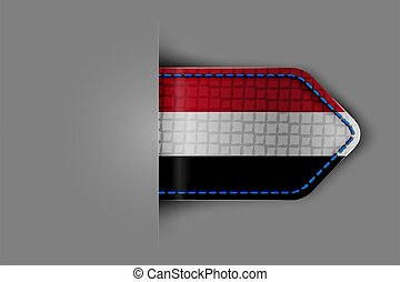 Flag of Yemen in the form of a glossy textured label or ...