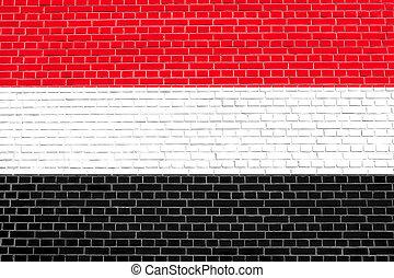 Flag of Yemen on brick wall texture background