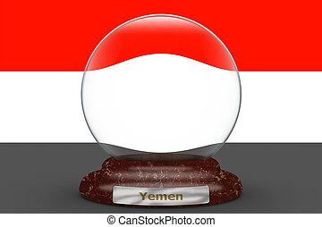Flag of Yemen on snow globe