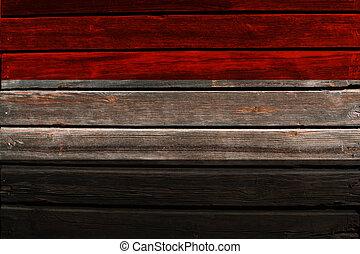 Flag of Yemen on wood