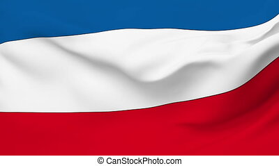 Flag of Yugoslavia - Flag of the Yugoslavia waving in the...