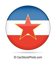 Flag of Yugoslavia. Shiny round button.
