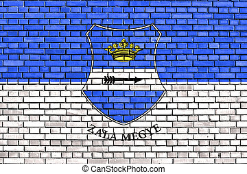 flag of Zala County painted on brick wall