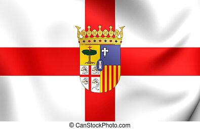 Flag of Zaragoza Province, Spain.