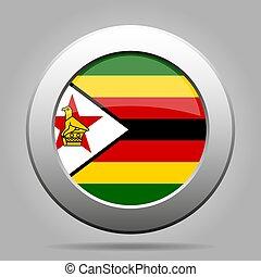 Flag of Zimbabwe. Metal gray round button.