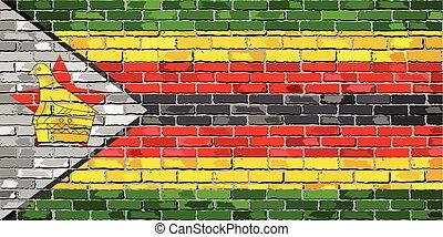 Flag of Zimbabwe on a brick wall