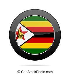 Flag of Zimbabwe. Shiny black round button.